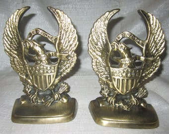 An American Eagle~ E Pluribus Unum~ Bookends ~Brass Polish~Made in USA~ pair