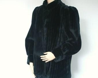 Black Faux Fur Jacket Vintage 1980's Coat Vegan Plush Size Small - Medium