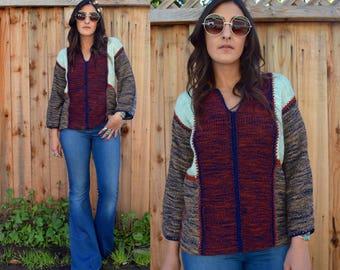 Vintage 70s BOHO HIPPIE Space Dye Sweater M