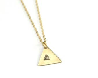 Tribal Rain Stamped Necklace | Gold Lines Jewelry | Bridesmaids Necklace | Geometric Necklace | Triangle Necklace | Gifts under 20