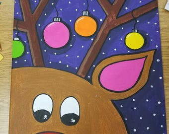 reindeer painting on canvas Rudolph the red nosed reindeer
