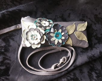 CrossBody Leather Grey Purse with Blue Flowers