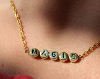 NEW 90's style gold MAGIC chain word necklace - gift idea: have one personalised