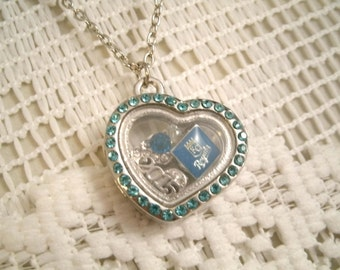 KC Royals floating Locket Necklace with floating Royals charms