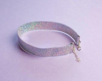 Hologram Choker Necklace Sparkle Silver Multi Color Retro 90s Jewelry Festival Wear