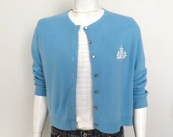 Vintage 1960s True Blue Cardigan Sweater with Oriental Embroidered Pagoda Petitte L XL