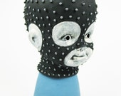 Executioner Pinhead Blue Black Silver Hood Ski Mask Balaclava Baby White Face Scary Weird Strange Eerie Chain Mail Doll Bust Spooky