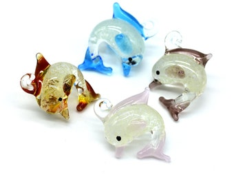 Luminous Glass Dolphin Pendants, 4pcs,  20x25mm, Mixed   Color,  Glow In The Dark -P367