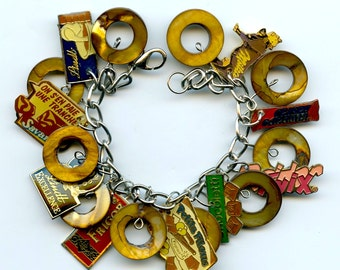 Chocolate Lovers Charm Bracelet Made With Chocolate Lapel Pins and Brown Mother of Pearl Beads