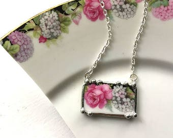 Porcelain jewelry necklace, broken china jewelry necklace - antique pink rose and white hydrangea porcelain china plate