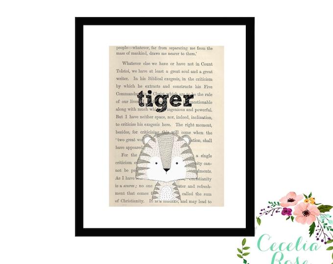 Tiger Book Art Vintage Book Art Cute Simple Box Frame or Print
