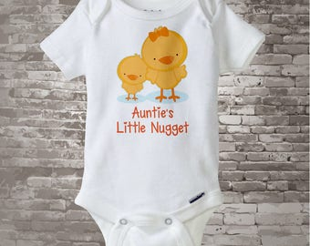 Cute little chicken nugget Onesie Bodysuit or Tee Shirt, Says Auntie's Little Nugget. 02172015e