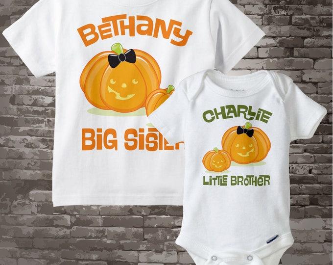 Sibling Pumpkin Big Sister Little Brother Set | Big Sister Shirt and Little Brother Onesie with cute pumpkins 09252012z