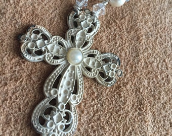 Shabby Chic Cross Necklace with pearls and sea glass beads