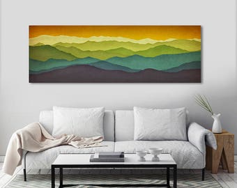Mountain Colors - Stretched Canvas Panel Ready to Hang Wall Art Green Mountains Smoky Tennessee North Carolina Vermont