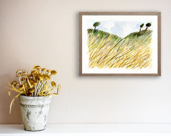 Wheat Field, fine art print, Wheat filed print, landscape print, watercolor print, harvest art, yellow, olive, modern art, home decor