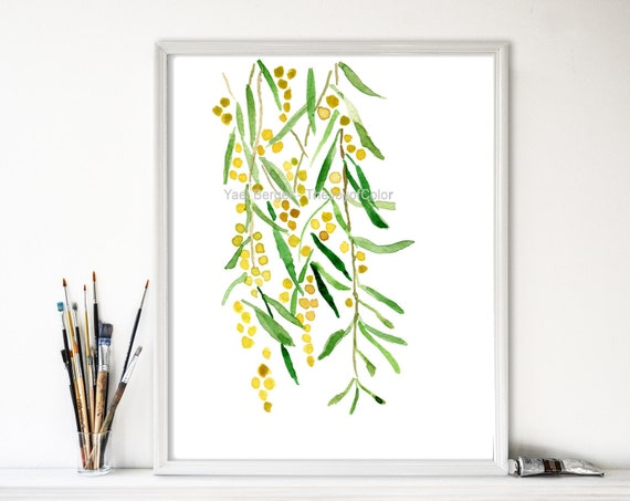 Mimosa Art print, Mimosa watercolor,  Botanical art, Yellow, Peridot green, Mimosa print, fresh home decor, watercolor print, artwork, plant