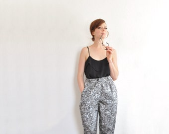 metallic graphite rose print pant . silver black floral trousers .medium .sale