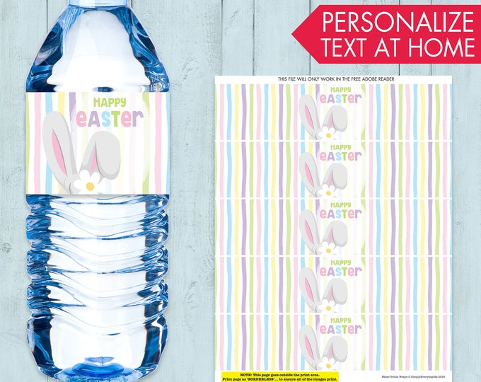 Easter Water Bottle Wrap - Easter Party, Bunny Party, Bunny Baby Shower, Spring Party | Editable Text - Instant Download PDF Printable