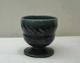 Vintage Drip Glaze Green Hull Planter - Pedestal Planter
