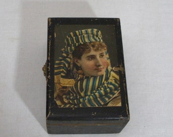 Vintage Black Painted Box with Paper Middle East Woman on Lid