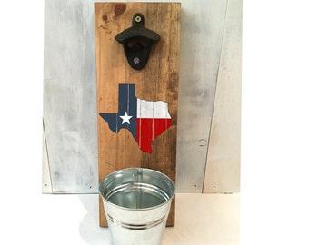 bottle opener, Texas bottle opener, groomsmen gift, Father's Day gift, reclaimed wood, home state, Texas decor, housewarming, gift for him