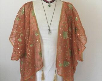 Orange kimono, 1920's embroidered flapper festival shrug.