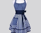 Flirty Chic / Womens Retro Apron in Navy Blue White Stripes and Polka Dots Vintage Style Pinup Kitchen Cooking Apron