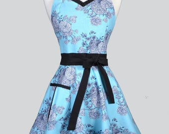 Sweetheart 50s Womens Apron . Robin Egg Blue and Black Floral Retro Cute and Flirty Vintage Style Kitchen Apron with Fitted Bodice