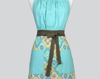 Cute Kitsch Womens Apron / Modern Aqua Tone on Tone Retro Vintage Style Chef Kitchen Cooking Apron with Pockets and Adjustable Neck