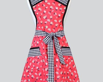 MOLLY Womans Vintage Apron / Retro Red Floral with Black Gingham Full Old Fashioned Kitchen Apron with Pockets Regular and Plus Size