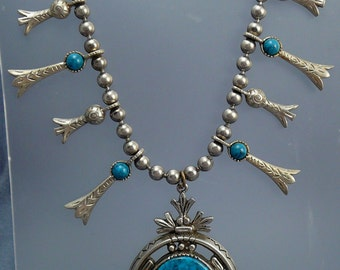 ART Squash Blossom Necklace Turquoise Plastic Native American Style Signed ART