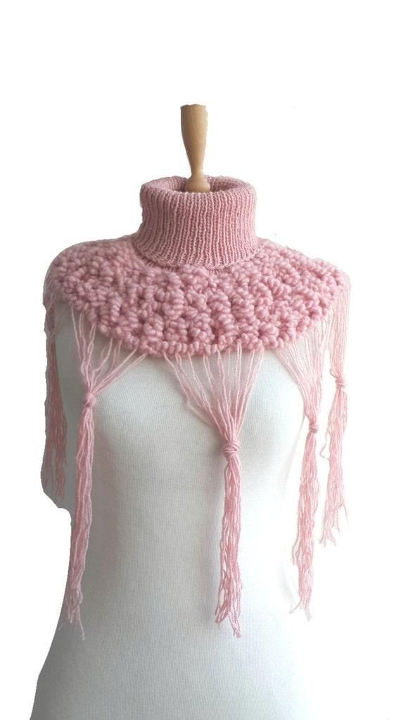 Knitting Pattern Turtleneck Capelet : Hand Knit Turtleneck Mini Capelet / Soft Pink Polo Neck Scarf