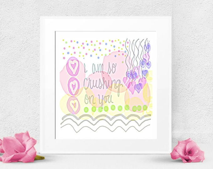 Instant Art, Digital Download, Pastel Digital Sketch, Crushing On You, Love Print, desk art, wall art, office art, card art, bedroom print
