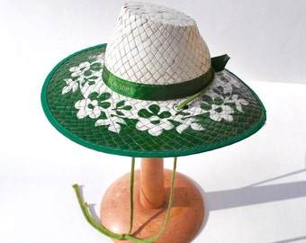 Antique 1930's child's straw hat, green floral with Cherry Blossoms on hat band, rare, in near MINT condition, souvenir hat from Michigan