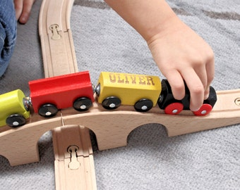 Engraved Wooden Train Set, Personalized Childrens Christmas Gift for Boys, Personalized Wood Toy, Gift for Nephew, Children