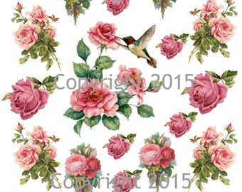 Printable Victorian Flowers Pink Roses and Hummingbird Collage Sheet.  Instant Digital Download,  Flowers, Scrapbook Embellishments