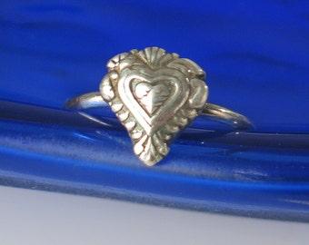 Fine Silver Heart Spirit Ring, Symbol of Love Ring, Symbol of Devotion Ring, Fine Silver Valentine's Day Ring, Fine Silver Heart Ring Gift