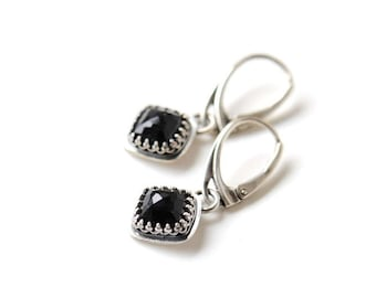 Reserved for SM - Black onyx earrings, dangly earrings sterling silver with leverbacks, onyx jewellery