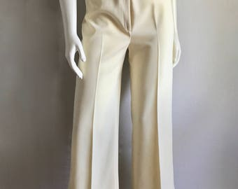 Vintage Women's 70's Cream Pants, High Waisted, Wide Leg by Breckinridge (M)