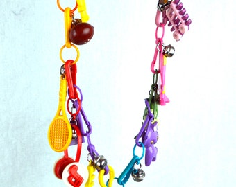 Lot of 17 Vintage 80s Flashback Plastic Charm Keychain Chain Bells - Beads, Etc