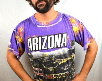 Rad Vintage 80s 90s Arizona All Over Print Top Tee Shirt