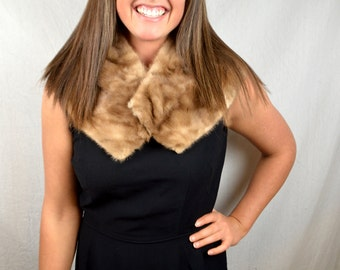 Vintage 60s Mink Real Animal Fur Collar