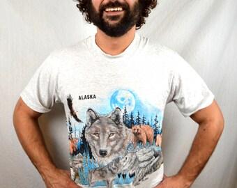 Vintage 1990s 90s Wolf Moon Alaska Tee Shirt Tshirt