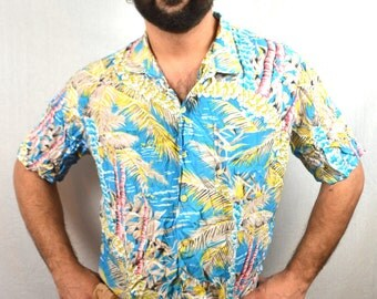 Vintage 80s Hawaiian Shirt - Tropically Yours - XL