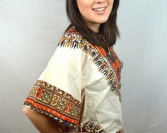 Vintage 70s Ethnic Boho Batik Dashiki Caftan Tunic Top Shirt - XS