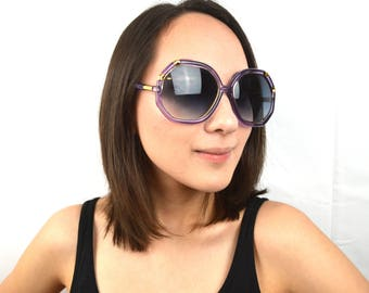 Vintage Big Oversized 1970s 80s Purple Ted Lapidus Style Sunglasses  - Made in Taiwan