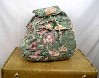Vintage 90s Floral Rucksack Pink Floral Backpack