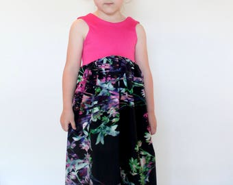 MAXI DRESS-  Pink and Floral Toddler/Girls