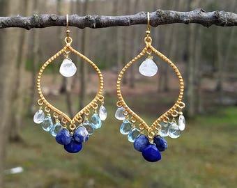 Lapis, Sodalite and Moonstone Chandelier Earrings ~ Boholuxe Style Beaded Earrings